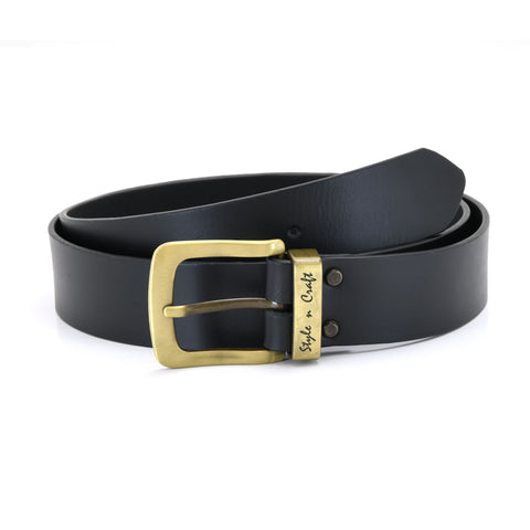 392711 - one and a half inch wide leather belt in black color full grain leather with matte gold finish metal buckle & loop - front view 1