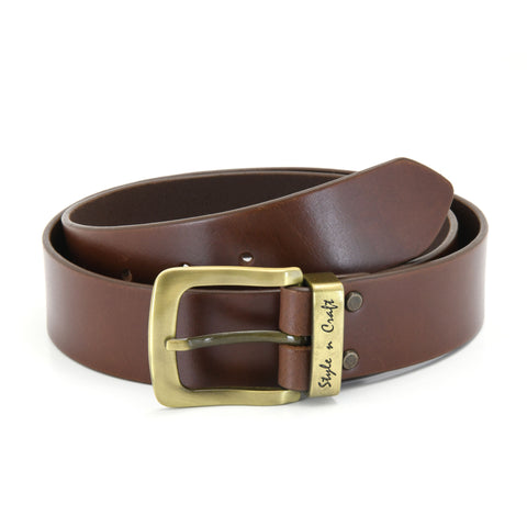 392713 - one and a half inch wide leather belt in dark tan color full grain leather with matte gold finish metal buckle & loop - front view 1