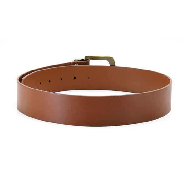 392714 - one and a half inch wide leather belt in tan color full grain leather with matte gold finish metal buckle & loop - back view