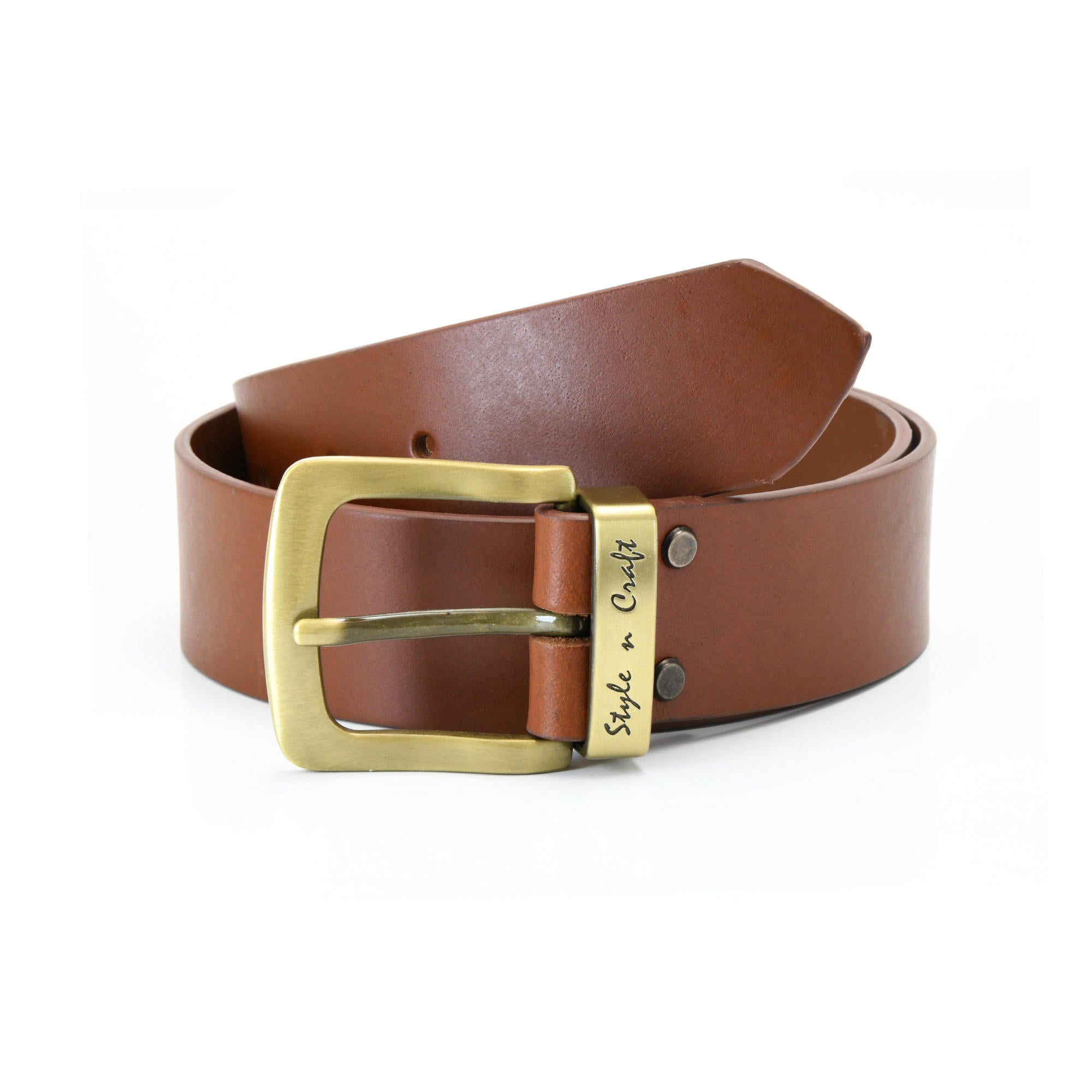 392714 - one and a half inch wide leather belt in tan color full grain leather with matte gold finish metal buckle & loop - front view 1