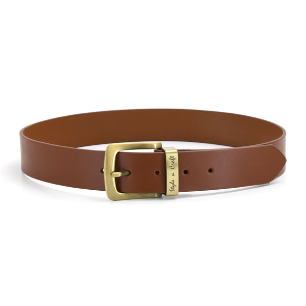 392714 - one and a half inch wide leather belt in tan color full grain leather with matte gold finish metal buckle & loop - front view 2