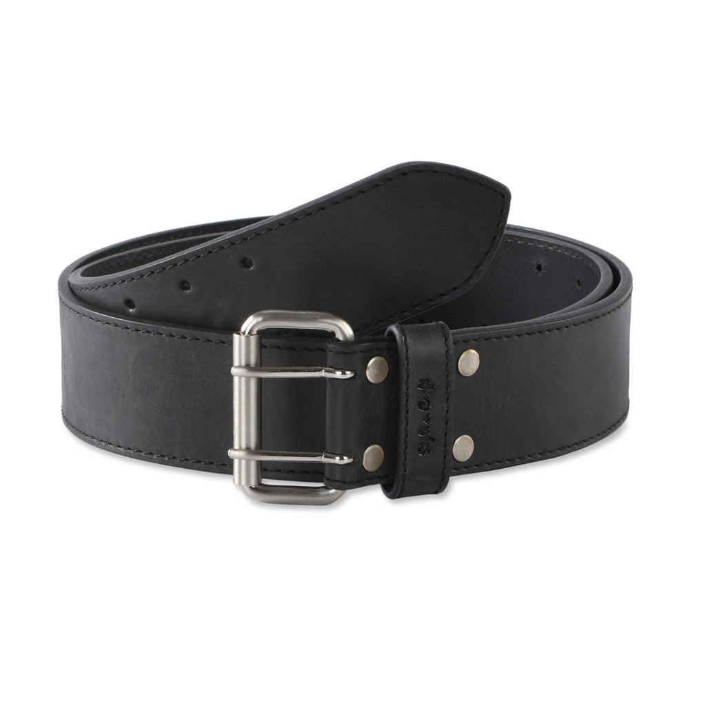 "Style n Craft 392752 - 2"" Wide Leather Work Belt in Black Color Heavy Top Grain Leather with Double Prong Buckle - Front View"