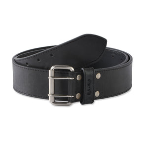 "Style n Craft 392752 - 2"" Wide Leather Work Belt in Black Color Heavy Top Grain Leather with Double Prong Metal Roller Buckle - Front View"