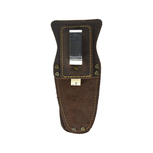 Style n Craft 70009 - 3 Pocket Pliers / Tool Holder in Heavy Top Grain Oiled Leather - Back View Showing the Metal Clip