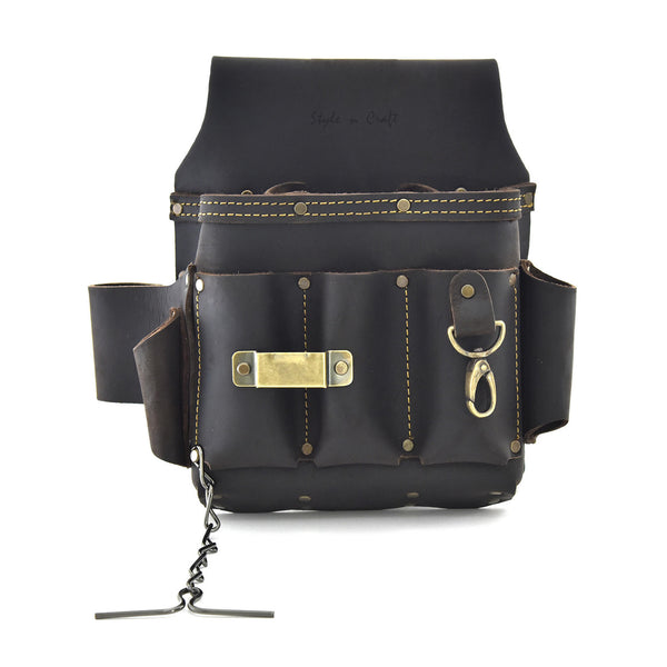 Style n Craft 70603 - 10 Pkt Electrician's Tool Pouch in Top Grain Oiled Leather with Metal Tape Clip, Metal Snap & Metal Tape Chain - Front View