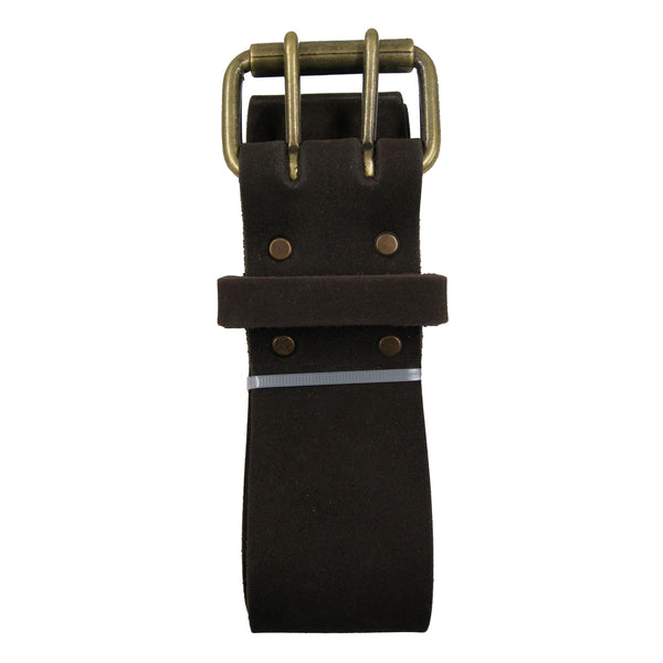 Style n Craft's 74052 - 2 Inch Wide Work Belt in Heavy Top Grain Oiled Leather in Dark Brown Color with Double Prong Metal Roller Buckle - Folded View