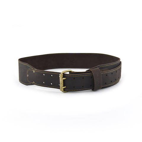 74055 -3 Inch Wide Long Tapered Leather Work Belt in Oiled Leather in Dark Brown Color - Front View