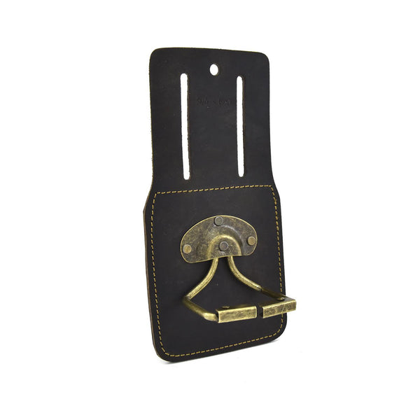 74440 - Spring Loaded Swivel Hammer Holder in Heavy Top Grain Oiled Leather - front angled view