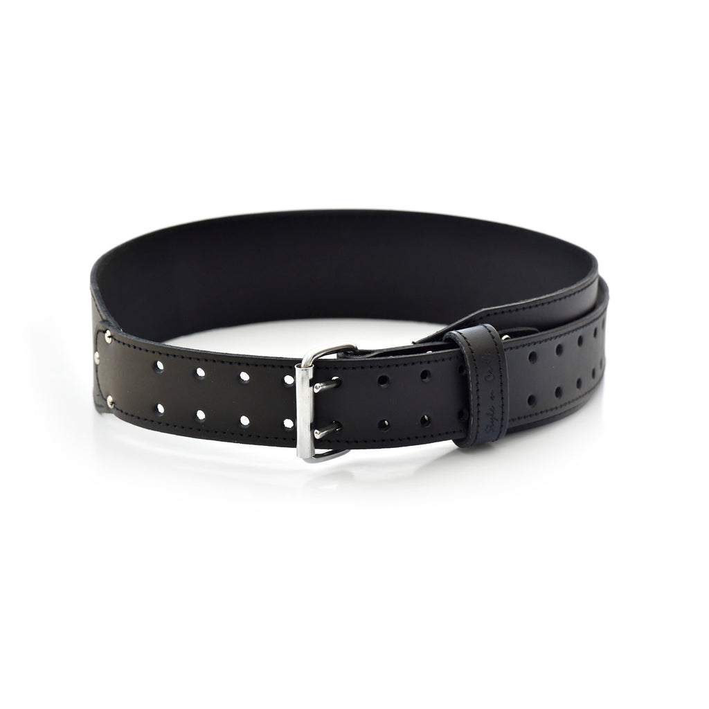 Style n Craft's 75437 - 3 Inch Wide Tapered Work Belt in Heavy Leather in Black with Double Prong Metal Roller buckle
