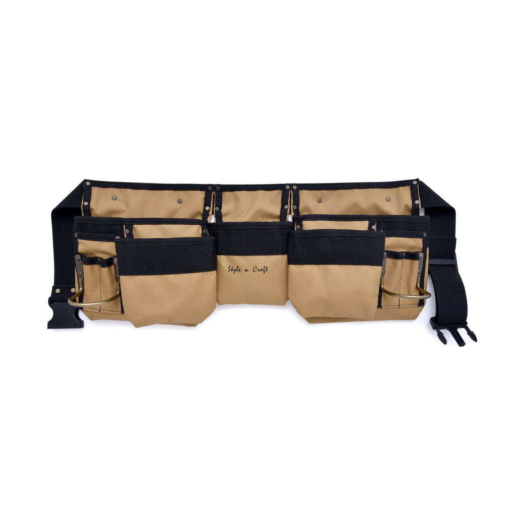 Style n Craft 76425 - 11 Pocket Carpenter's Tool Belt in Polyester in Khaki/Black Color Combination - Front View