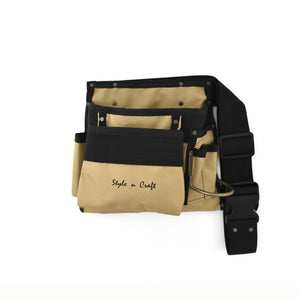 Style n Craft 76490 - 6 Pocket Carpenter's Tool Belt in Polyester in Khaki / Black Color Combination - Front View