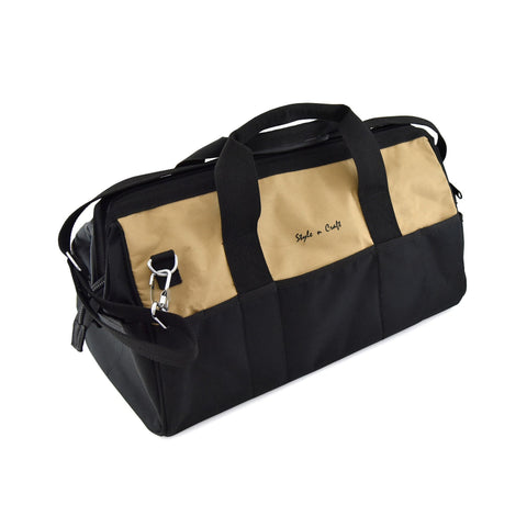 Style n Craft 76512 - 28 Pocket 20 Inch Tool Bag in Polyester in Khaki & Black Combination - View 1