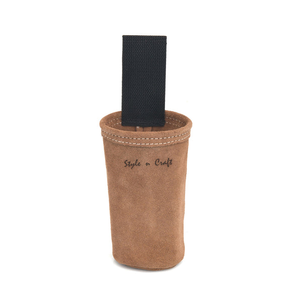 Style n Craft 88022 - Spray Paint Can Holder in Heavy Duty Suede Leather in Dark Tan Color - front view