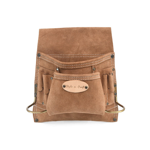 Style n Craft 88823 - 8 Pocket Carpenter's Nail and Tool Pouch in Heavy Duty Suede Leather in Dark Tan Color - Front View