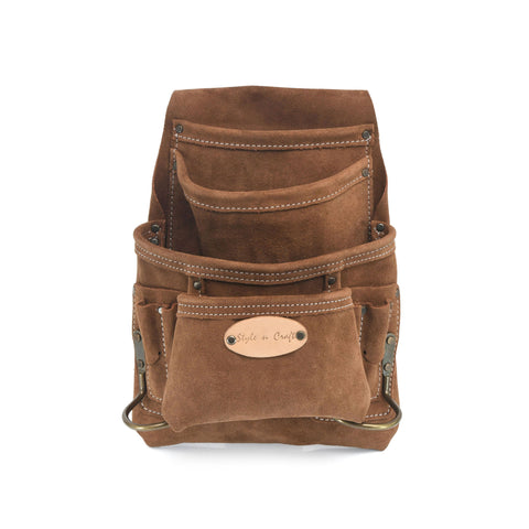 Style n Craft 88923 - 10 Pocket Carpenter's Nail and Tool Pouch in Heavy Duty Suede Leather in Dark Tan Color with Antique Finish Hardware - Front View