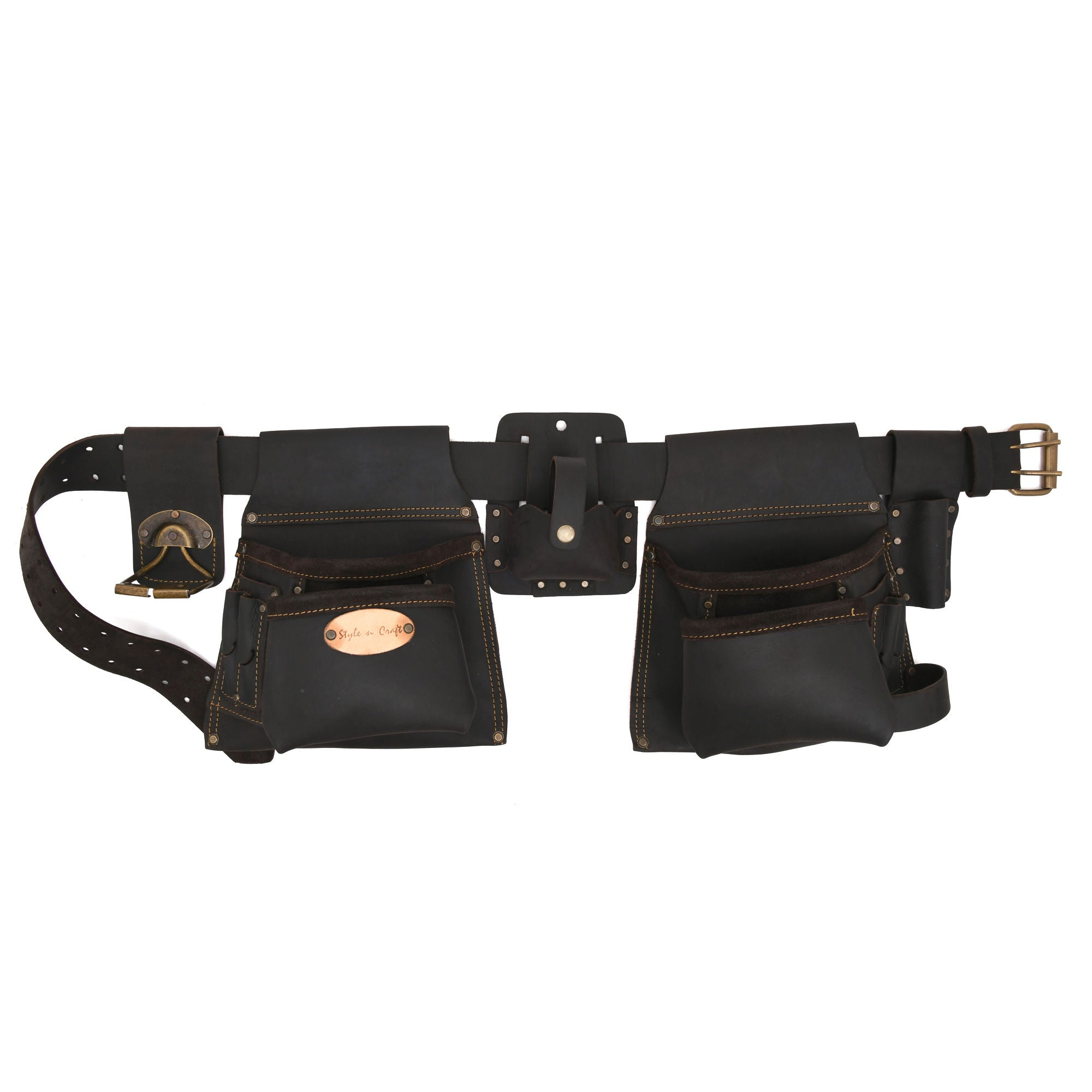 Style n Craft 90420 - 6 Piece 10 Pocket Carpenter's Combo Tool Belt in Oiled Top Grain Leather in Dark Brown Color. Combo consists of 2 Pouches, 1 Large Tape Holder, 1 Spring Loaded Swivel Hammer Holder, 1 Prybar Holder & 1 Belt with Double Prong Metal Roller Buckle