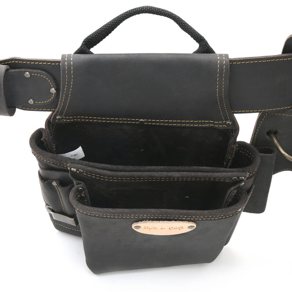 Style n Craft 90429 - Top Angled View of the Left Side Pouch of the 4 Piece 17 Pocket Pro Framer's Combo in Top Grain Oiled Leather in Dark Brown Color