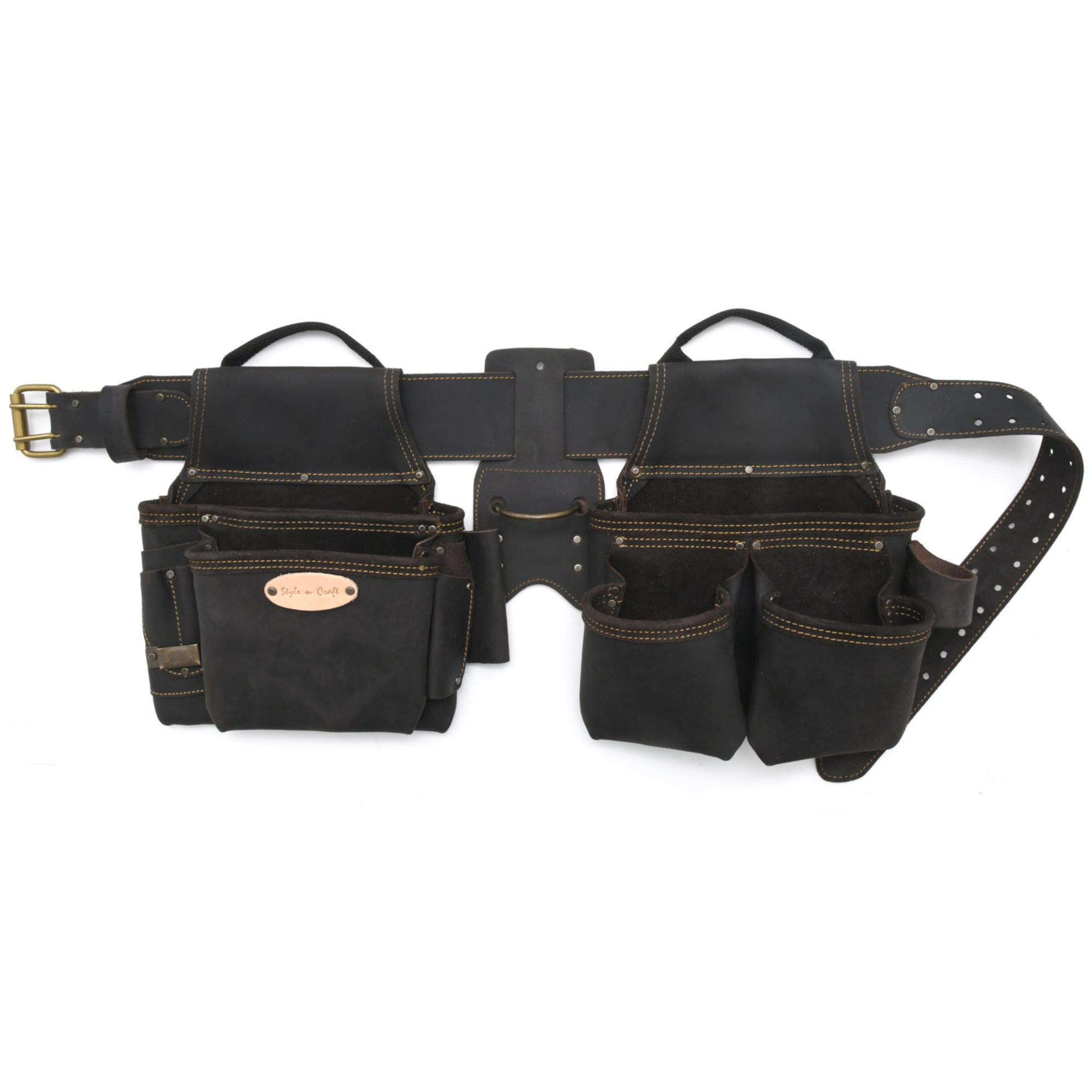 Style n Craft 90429 - 4 Piece 17 Pocket Pro Framer's Combo in Dark Brown Color Top Grain Oiled Leather with 3 inch wide Tapered Leather Belt with Double Prong Metal Roller Buckle - Front View