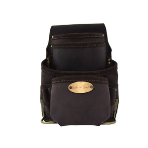 90926 - 10 Pocket Nail and Tool Pouch in Dark Brown Color Oiled Top Grain Leather with Wider Construction of Main & Front Pockets