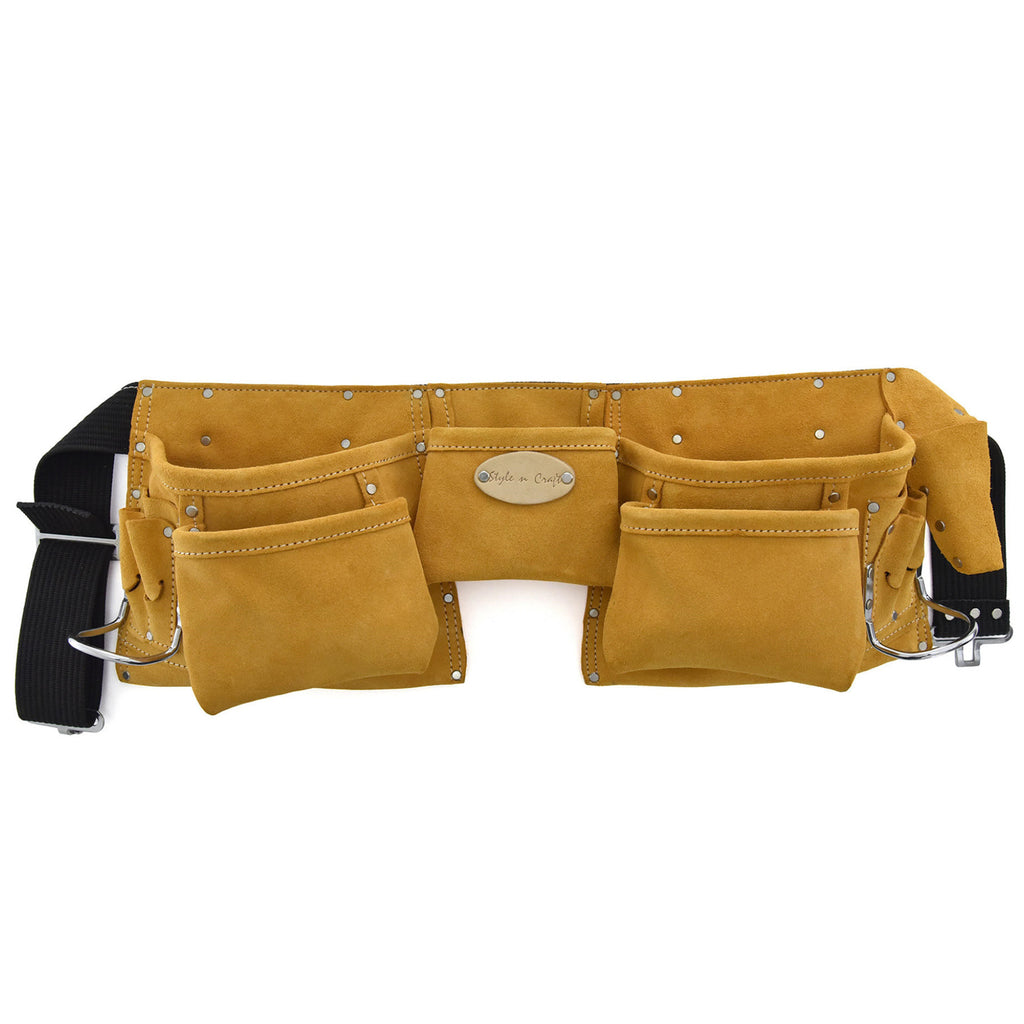 Style n Craft 91426 - 11 Pocket Carpenter's Tool Belt in Heavy Duty Suede Leather with 2-1/4 inch Polyweb Belt with Metal Buckle