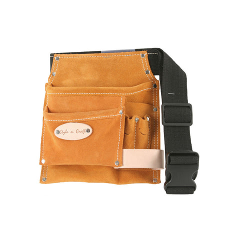 5 Pocket Tool Belt in Heavy Duty Suede Leather