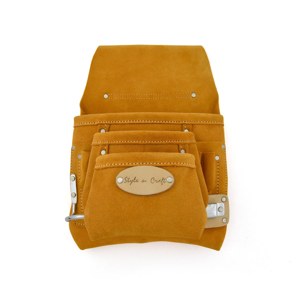 Style n Craft 91925 - 9 Pocket Carpenter's Nail and Tool Pouch in Heavy Duty Suede Leather in Yellow Color - View 1