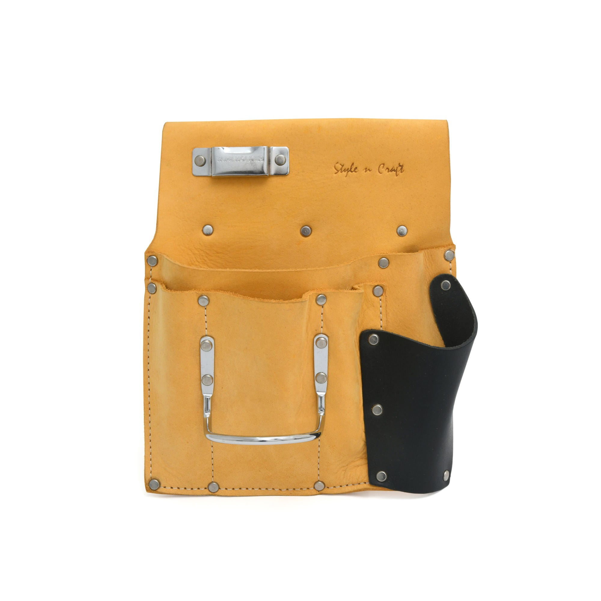 Style n Craft 93485L - 6 Pocket Drywall Hanger's Tool Pouch for Left Handed People in Yellow Color Top Grain Leather with Leather Saw Holder in Black Top Grain Leather. Metal Tape Clip & Metal Hammer Holder