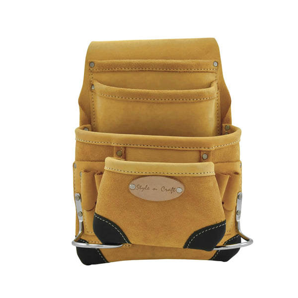 Style n Craft 93923 - 10 Pocket Carpenter's Nail & Tool Pouch in Yellow Top Grain Leather with Reinforced Corners in Black Top Grain Leather - Front View 2