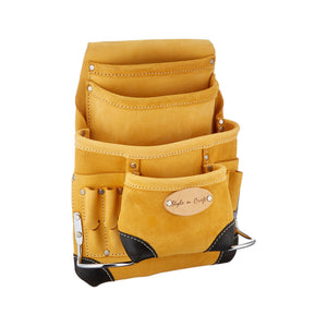 Style n Craft 93923 - 10 Pocket Carpenter's Nail & Tool Pouch in Yellow Top Grain Leather with Reinforced Corners in Black Top Grain Leather - Front Angled View