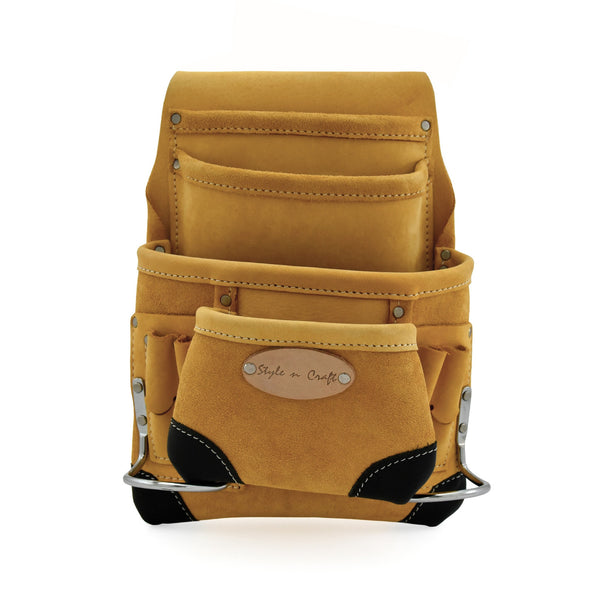 Style n Craft 93923 - 10 Pocket Carpenter's Nail & Tool Pouch in Yellow Top Grain Leather with Reinforced Corners in Black Top Grain Leather - Front View 1