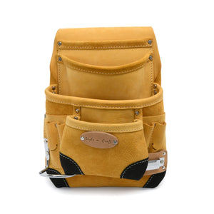 Style n Craft 93924 - 10 Pocket Carpenter's Nail & Tool Pouch in Yellow Top Grain Leather with Reinforced Black Leather Corners, Hammer Holder & Tape Clip - Front View