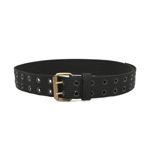 "Style n Craft 95012 - 2"" Wide Heavy Duty Black Polyweb Work Belt with Antique Finish Double Prong Metal Roller Buckle and Metal Eyelets"
