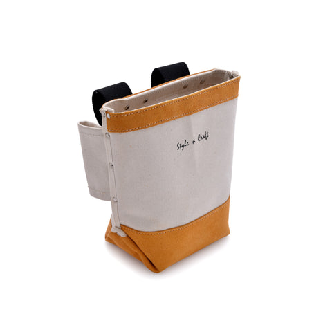 Style n Craft 97515 - Bolt Bag in Canvas / Suede Leather Combination with Double Bull-Pin Loops - Front Angled View