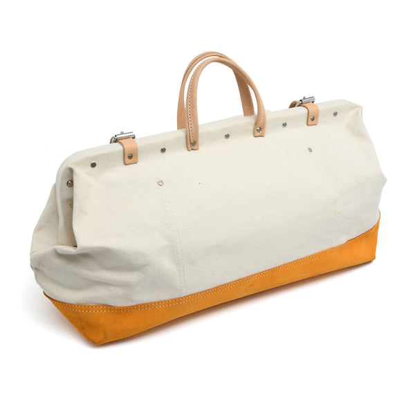 Style n Craft's 97516 - 20 Inch Mason's Tool Bag in White Canvas with Yellow Suede Leather Bottom, Handle & Straps in Leather - Back Closed View