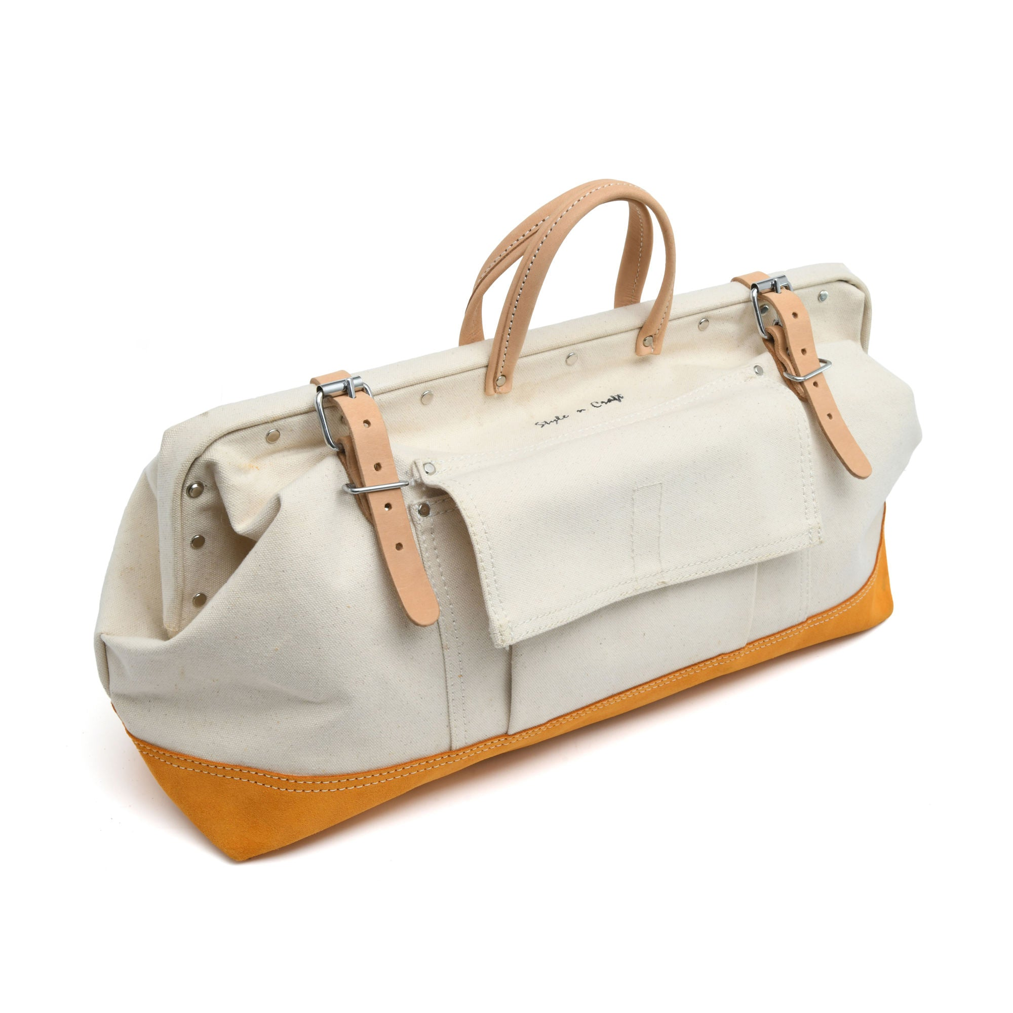 Style n Craft's 97516 - 20 Inch Mason's Tool Bag in White Canvas with Yellow Suede Leather Bottom, Handle & Straps in Leather - Front Closed View