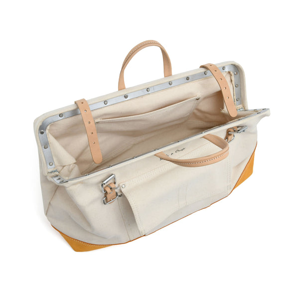 Style n Craft's 97516 - 20 Inch Mason's Tool Bag in White Canvas with Yellow Suede Leather Bottom, Handle & Straps in Leather - Top Open View 1