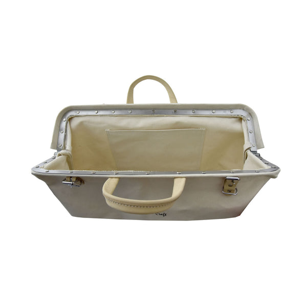 Style n Craft's 97516 - 20 Inch Mason's Tool Bag in White Canvas with Yellow Suede Leather Bottom, Handle & Straps in Leather - Top Open View 2