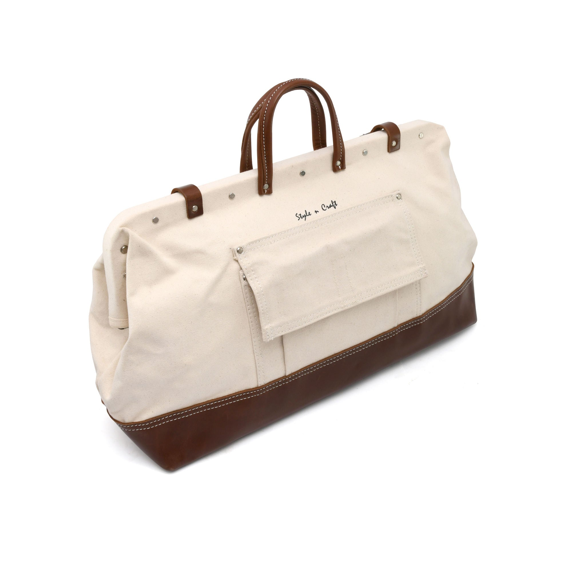 Style n Craft 97517 - 20 Inch Mason's Tool Bag in White Canvas / Dark Tan Top Grain Leather Combination - Back Closed View