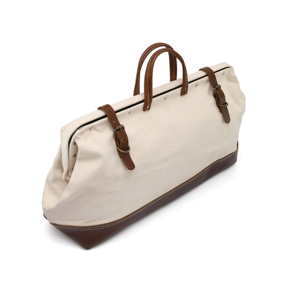 Style n Craft 97517 - 20 Inch Mason's Tool Bag in White Canvas / Dark Tan Top Grain Leather Combination - Front Closed View
