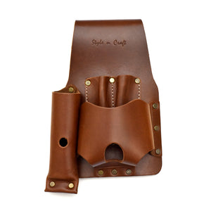 Style n Craft 98015 Tape and Knife Holder in Heavy Top Grain Leather in Dark Tan Color - Front View