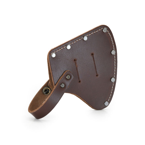 Style n Craft 98025 - Camper's Hatchet Sheath / Axe Cover in Heavy Top Grain Leather in Dark Tan Color. It has a Double Snap Button Closure - Back View