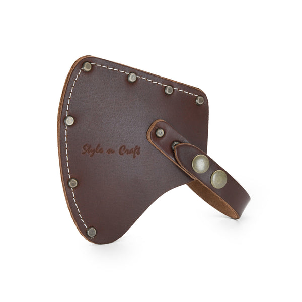 Style n Craft 98025 - Camper's Hatchet Sheath / Axe Cover in Heavy Top Grain Leather in Dark Tan Color. It has a Double Snap Button Closure - Front View