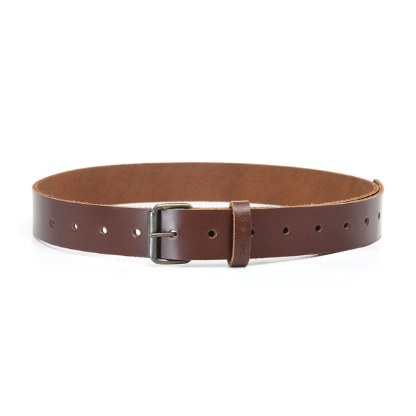 Style n Craft 98051 - One and a Half Inch Wide Work Belt in Dark Tan Heavy Top Grain Leather with Metal Roller Buckle in Antique Finish - Front View