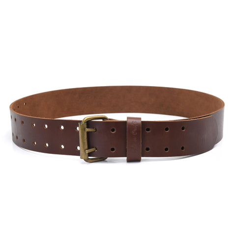Style n Craft's 98052 - 2 Inch Wide Work Belt in Heavy Top Grain Leather in Dark Tan Color with Double Prong Metal Roller Buckle in Antique Finish - Front View