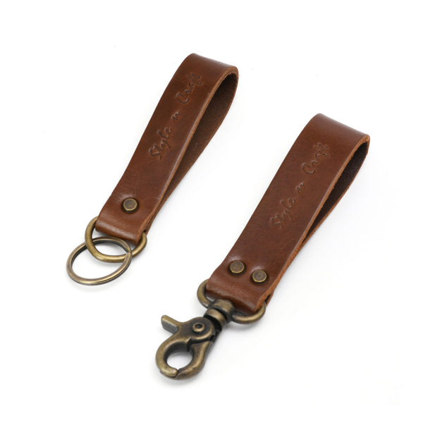 Style n Craft 98203 - Snap Loop & Key Ring Combination in Heavy Top Grain Leather in Dark Tan Color. Both Can Easily Slide on a 2 Inch Wide Belt. Front Angled View