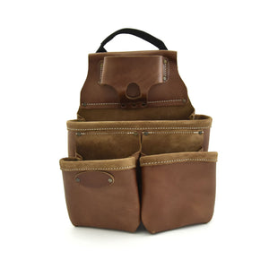 Style n Craft 98435 - 9 Pocket Nail & Tool Pouch in Top Grain Leather in Dark Tan Color