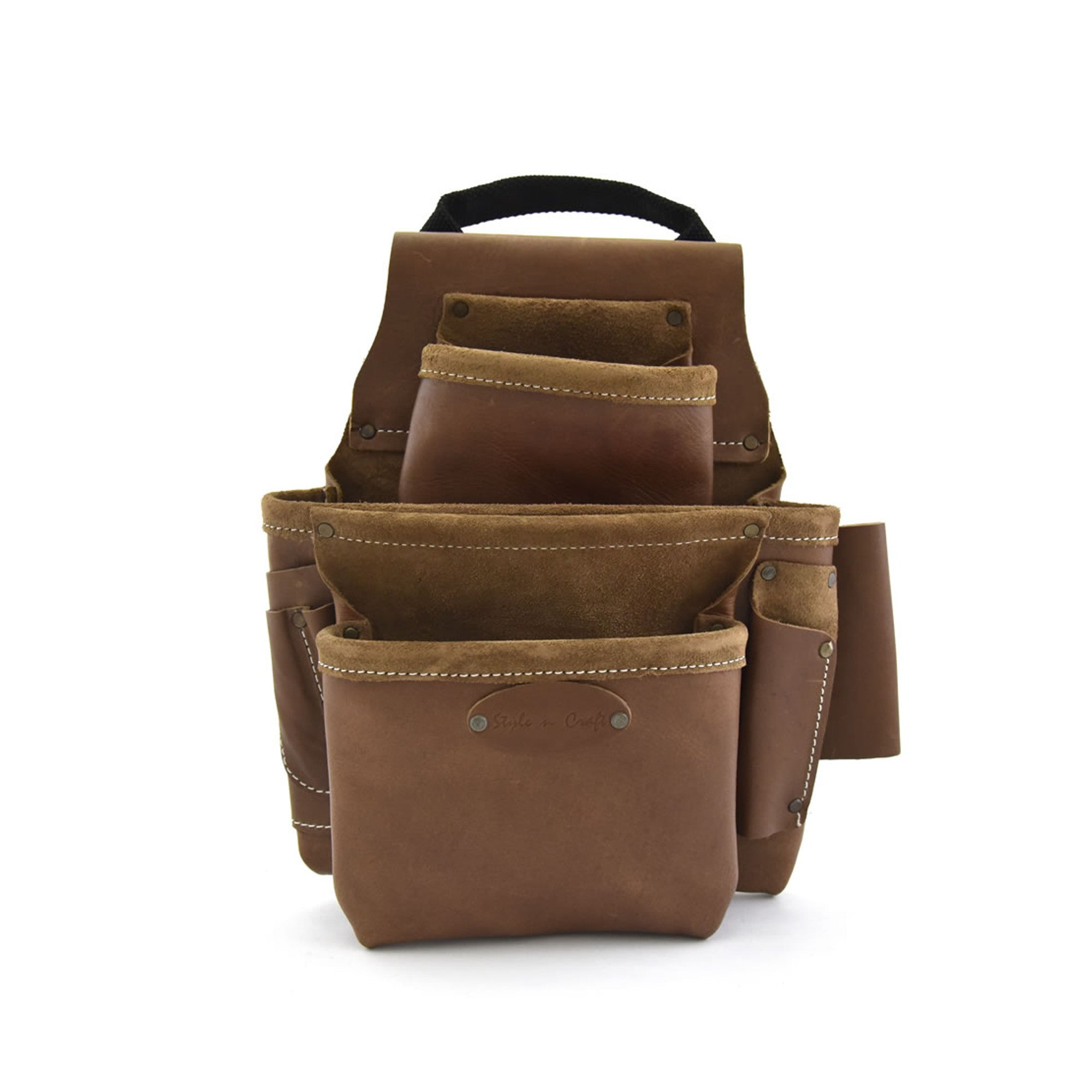 98436 - 8 Pocket Nail and Tool Pouch in Top Grain Leather in Dark Tan Color