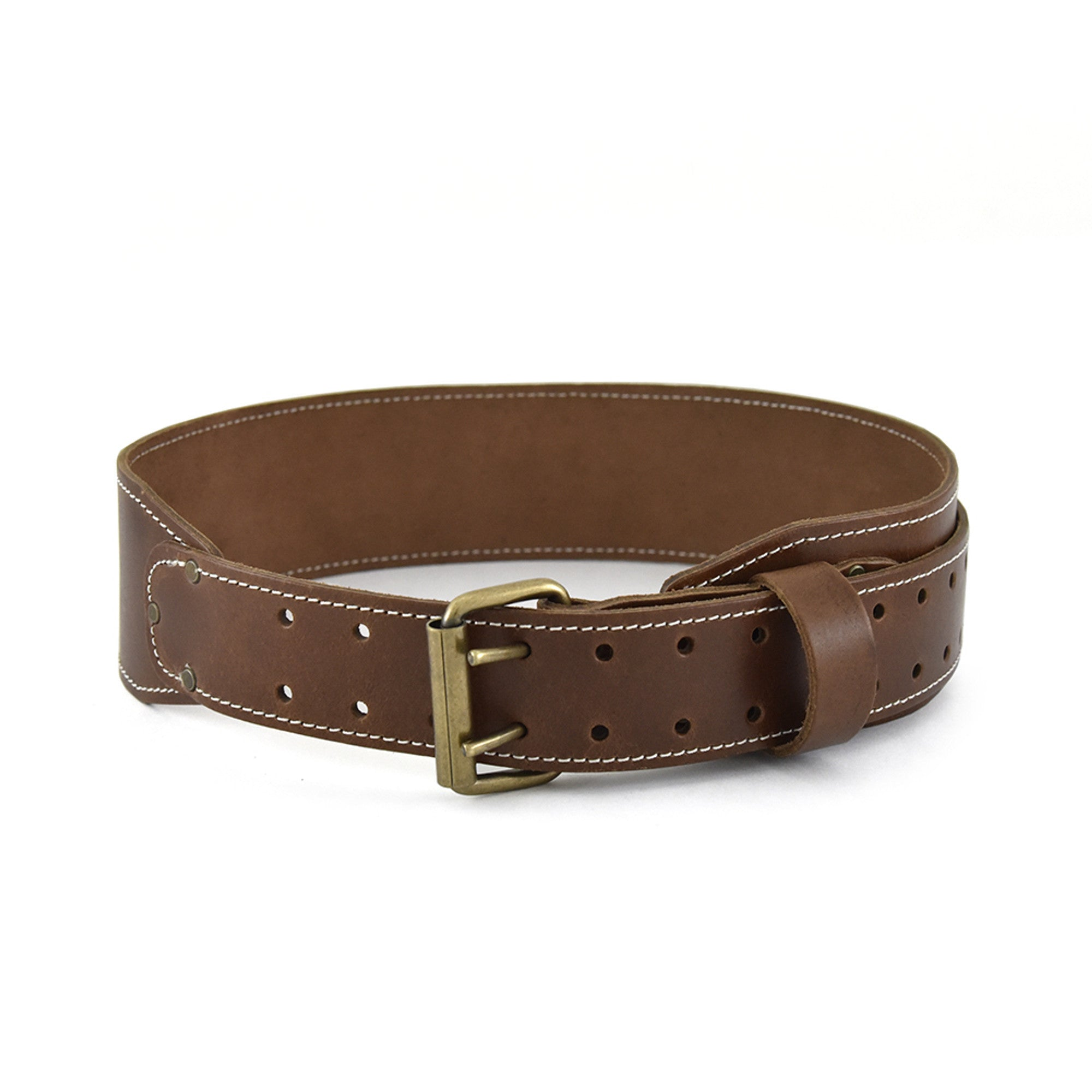Style n Craft 98437 - 3 Inch Wide Tapered Work Belt in Heavy Top Grain Leather in Dark Tan Color