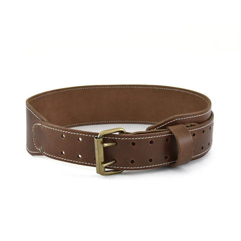 98437 - 3 Inch Wide Tapered Work Belt in Heavy Leather in Dark Tan