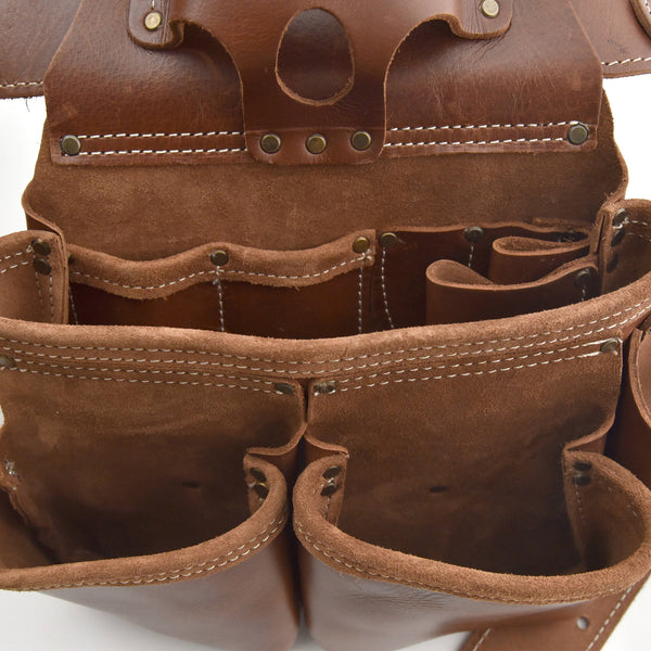 Style n Craft's 98444 - Inside View of the Right Side Pouch of the 4 Piece 17 Pocket Pro Framer's Combo in Top Grain Leather in Dark Tan Color